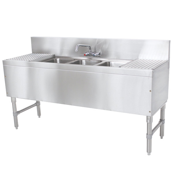 """Advance Tabco PRB-19-83C 3 Compartment Prestige Series Underbar Sink with (2) 30"""" Drainboards and Splash Mount Faucet - 20"""" x 96"""""""