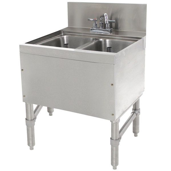 "Advance Tabco PRB-24-22C 2 Compartment Prestige Series Underbar Sink with Deck Mount Faucet - 25"" x 24"""