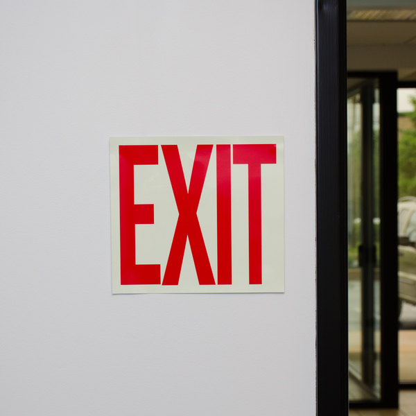 """Buckeye Glow-In-The-Dark Exit Sign Adhesive Label - Red and White, 12"""" x 8"""""""