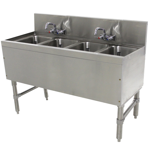 """Advance Tabco PRB-19-44C 4 Compartment Prestige Series Underbar Sink with (2) Splash Mount Faucets - 20"""" x 48"""" Main Image 1"""