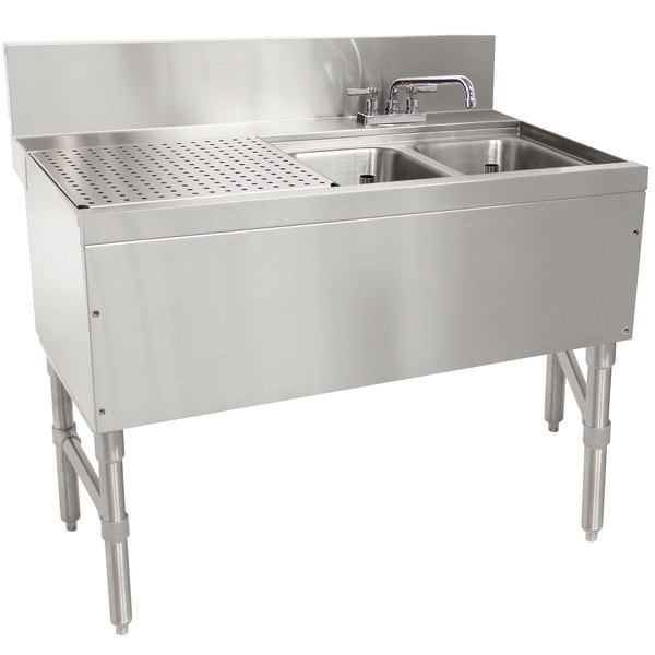 "Advance Tabco PRB-24-32R 2 Compartment Prestige Series Underbar Sink with (1) 11"" Drainboard and Deck Mount Faucet - 25"" x 36"" Main Image 1"