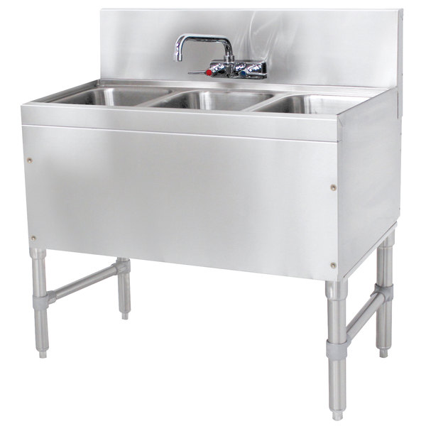 "Advance Tabco PRB-19-33C 3 Compartment Prestige Series Underbar Sink with Splash Mount Faucet - 20"" x 36"" Main Image 1"
