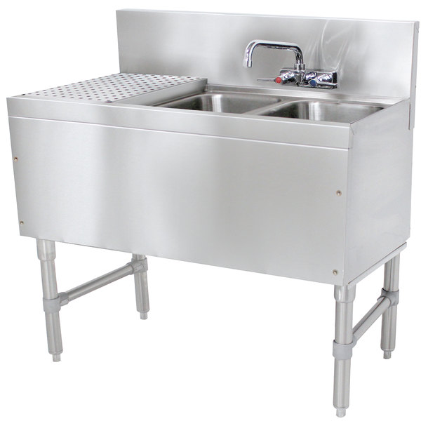 "Advance Tabco PRB-19-32R 2 Compartment Prestige Series Underbar Sink with (1) 11"" Drainboard and Splash Mount Faucet - 20"" x 36"""