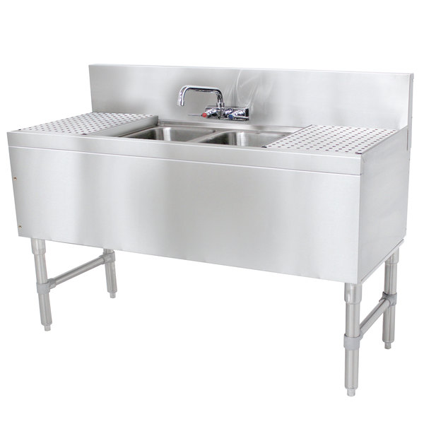 """Advance Tabco PRB-19-42C 2 Compartment Prestige Series Underbar Sink with (2) 12"""" Drainboards and Splash Mount Faucet - 20"""" x 48"""" Main Image 1"""