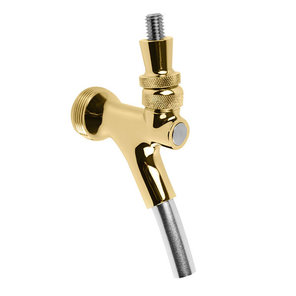 Micro Matic MM902 Gold Finish Brass European-Style Celli Beer Faucet with Stainless Steel Lever Main Image 1