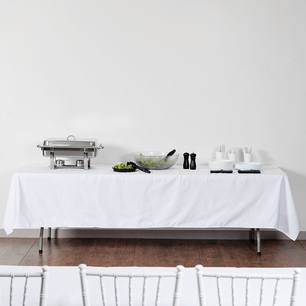 "White Hemmed Poly Cotton Tablecloth - 64"" x 120"""