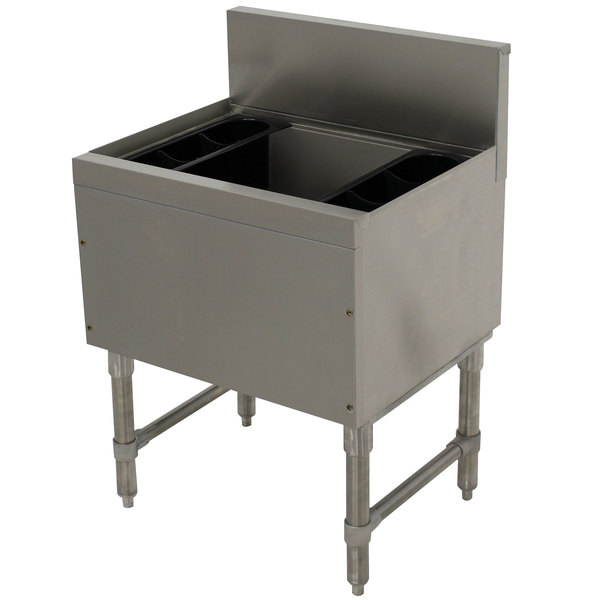 """Advance Tabco PRI-19-24-10 Prestige Series Stainless Steel Underbar Ice Bin with 10-Circuit Cold Plate - 20"""" x 24"""""""