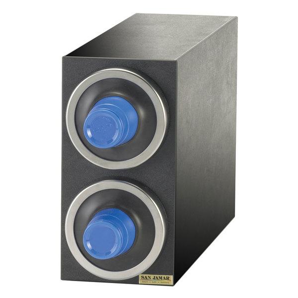 San Jamar C2902 EZ-Fit Black 2-Slot Vertical 8 - 46 oz. Countertop Cup Dispenser Cabinet with Metal Trim Ring Main Image 1