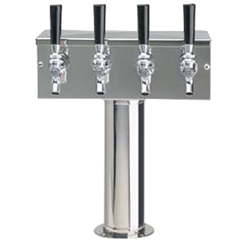 """Beverage-Air 406-075A Polished Stainless Steel 5 Tap Beer Tower - 3"""" Column"""