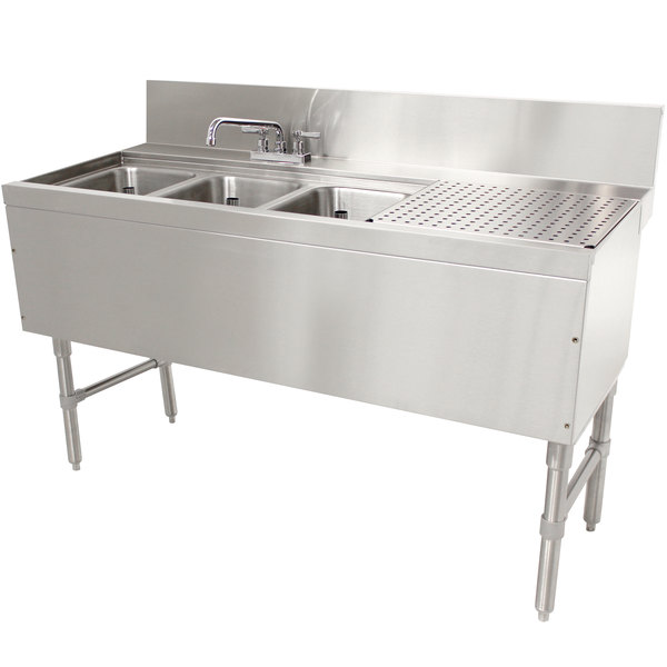 "Advance Tabco PRB-24-43L 3 Compartment Prestige Series Underbar Sink with (1) 11"" Drainboard and Deck Mount Faucet - 25"" x 48"" Main Image 1"