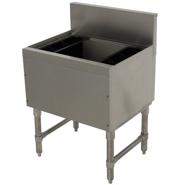 """Advance Tabco PRI-19-42-10 Prestige Series Stainless Steel Underbar Ice Bin with 10-Circuit Cold Plate - 20"""" x 42"""""""
