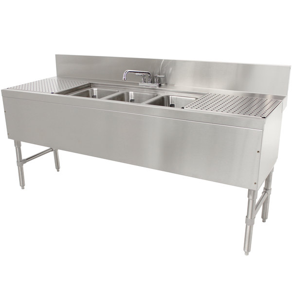 "Advance Tabco PRB-24-63C 3 Compartment Prestige Series Underbar Sink with (2) 18"" Drainboards and Deck Mount Faucet - 25"" x 72"" Main Image 1"