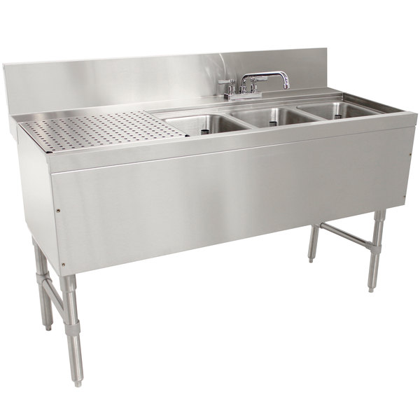 """Advance Tabco PRB-24-53R 3 Compartment Prestige Series Underbar Sink with (1) 23"""" Drainboard and Deck Mount Faucet - 25"""" x 60"""" Main Image 1"""