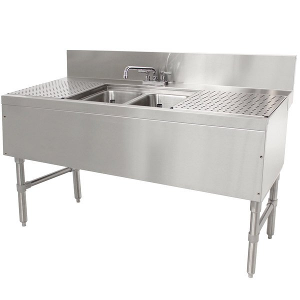 """Advance Tabco PRB-24-42C 2 Compartment Prestige Series Underbar Sink with (2) 12"""" Drainboards and Deck Mount Faucet - 25"""" x 48"""" Main Image 1"""