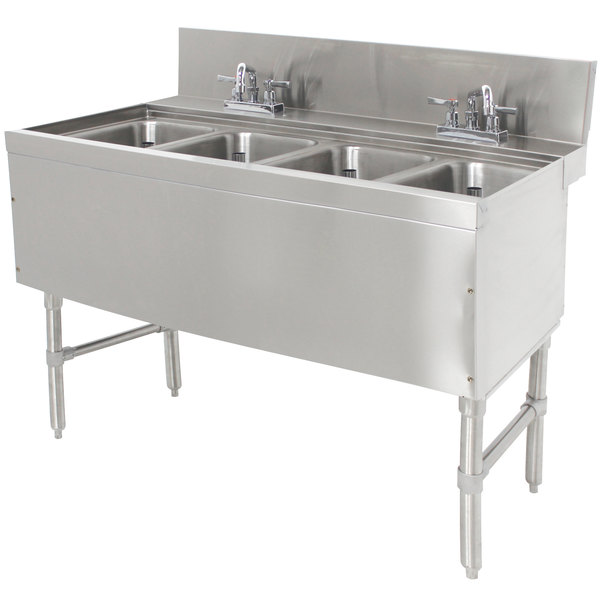 "Advance Tabco PRB-24-44C 4 Compartment Prestige Series Underbar Sink with (2) Deck Mount Faucets - 25"" x 48"""