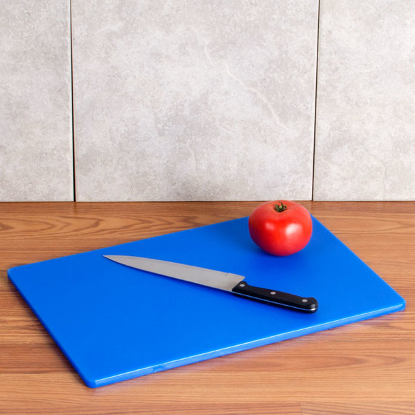 "12"" x 18"" x 1/2"" Blue Cutting Board"