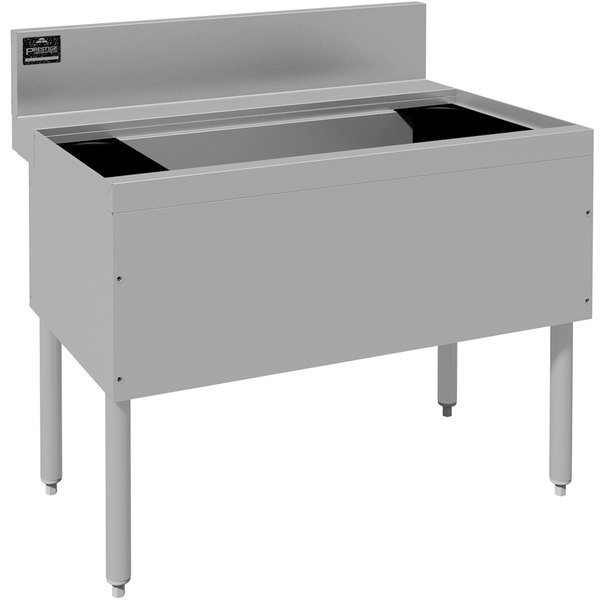 """Advance Tabco PRI-24-24-10-XD Prestige Series Stainless Steel Underbar Ice Bin with 10-Circuit Cold Plate - 25"""" x 24"""" Main Image 1"""