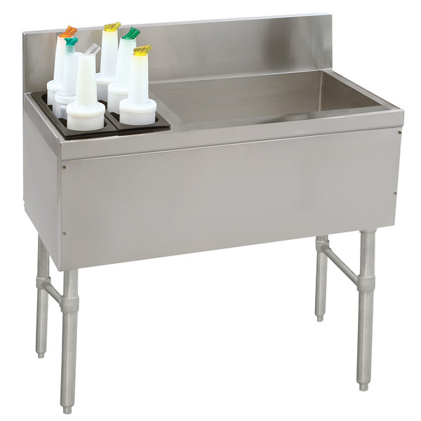 """Advance Tabco PRC-19-42R Prestige Series Stainless Steel Ice Bin and Bottle Storage Combo Unit - 20"""" x 42"""" (Right Side Ice Bin) Main Image 1"""