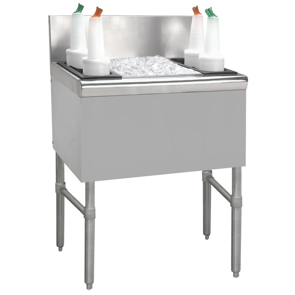 "Advance Tabco PRI-24-30-10-XD Prestige Series Stainless Steel Underbar Ice Bin with 10-Circuit Cold Plate - 25"" x 30"""