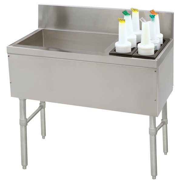 """Advance Tabco PRC-19-48L-10 Prestige Series Stainless Steel Ice Bin and Bottle Storage Combo Unit with 10-Circuit Cold Plate - 20"""" x 48"""" (Left Side Ice Bin)"""