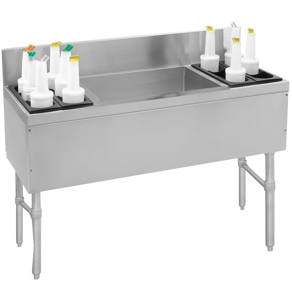 """Advance Tabco PRC-19-48LR-10 Prestige Series Stainless Steel Ice Bin and Bottle Storage Combo Unit with 10-Circuit Cold Plate - 20"""" x 48"""" (Center Ice Bin)"""