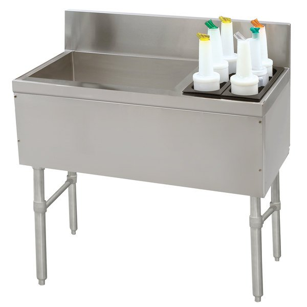 """Advance Tabco PRC-19-42L-10 Prestige Series Stainless Steel Ice Bin and Bottle Storage Combo Unit with 10-Circuit Cold Plate - 20"""" x 42"""" (Left Side Ice Bin) Main Image 1"""