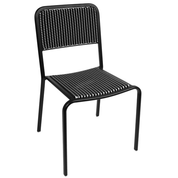 BFM Seating DV453BWBL Rio Outdoor / Indoor Stackable Synthetic Wicker Side Chair Main Image 1