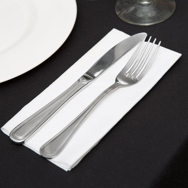 """Choice 15"""" x 16"""" White Linen-Feel Flat-Packed Dinner Napkin - 500/Case Main Image 4"""
