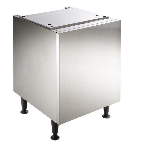 """Scotsman HST21B-A 21 1/2"""" x 23 3/4"""" Enclosed Stainless Steel Ice and Water Dispenser Stand"""