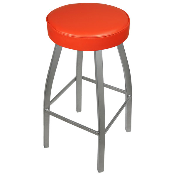 BFM Seating 2520BRDV-SV Kyle Silver Metal Barstool with Padded Red Vinyl Swivel Seat