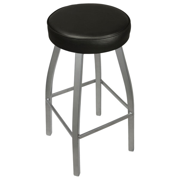 BFM Seating 2520BBLV-SV Kyle Silver Metal Barstool with Padded Black Vinyl Swivel Seat Main Image 1