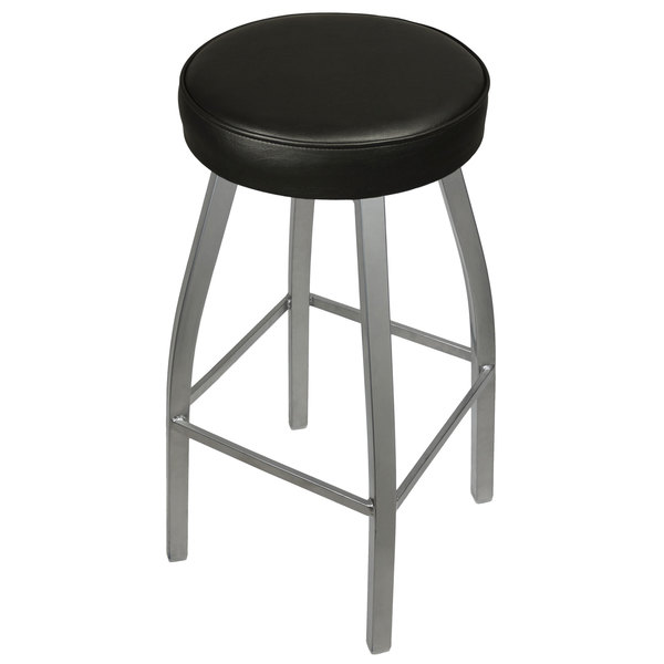 BFM Seating 2520BBLV-SV Kyle Silver Metal Barstool with Padded Black Vinyl Swivel Seat
