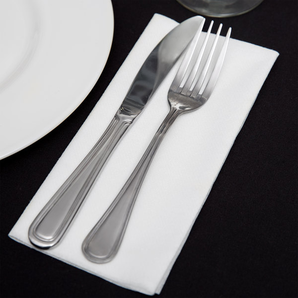 "Touchstone by Choice 16"" x 15"" White Linen-Feel Flat-Packed Dinner Napkin - 500/Case"
