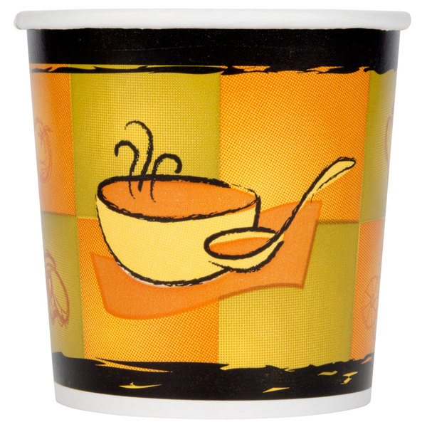 Huhtamaki Chinet 71851 Streetside Print 16 oz. Double-Wall Poly Paper Soup / Hot Food Cup with Vented Paper Lid - 250/Case
