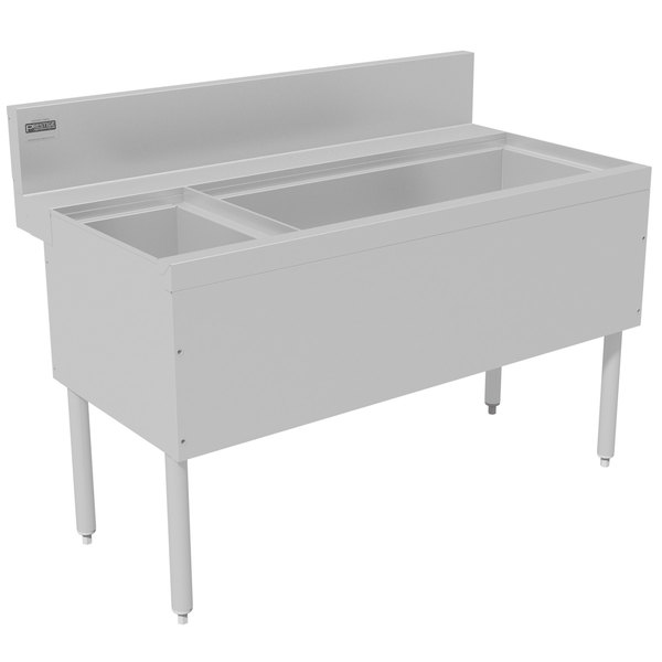 """Advance Tabco PRC-24-48R-10 Prestige Series Stainless Steel Ice Bin and Bottle Storage Combo Unit with 10-Circuit Cold Plate - 25"""" x 48"""" (Right Side Ice Bin)"""