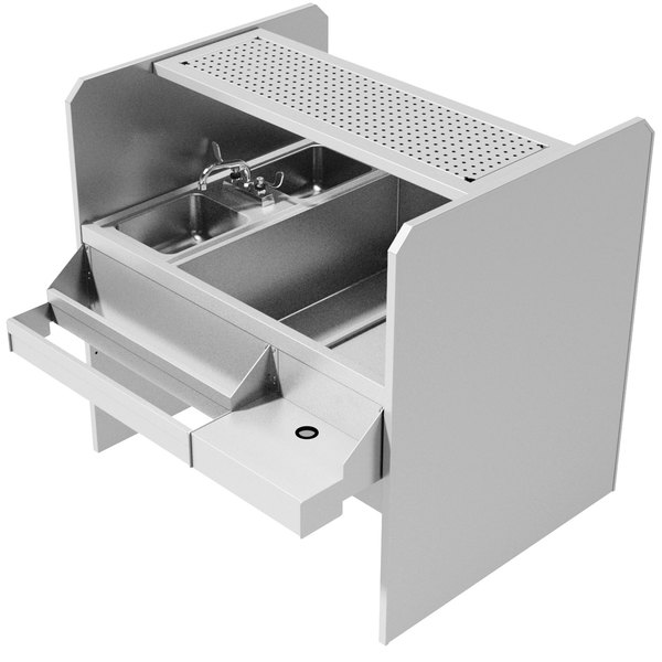 Advance Tabco PR-44X30SP-10-R Prestige Series Stainless Steel Pass-Through Workstation with Perforated Drainboard Shelf - (Right Side Ice Bin)