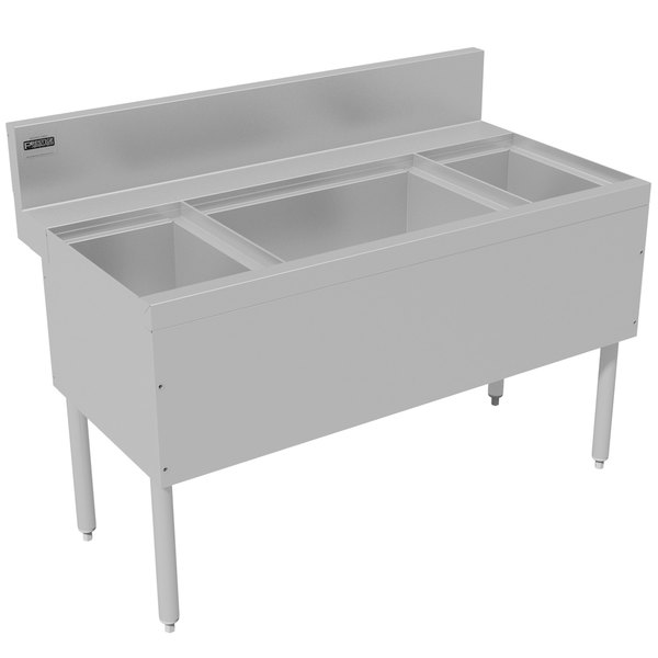 """Advance Tabco PRC-24-48LR-10 Prestige Series Stainless Steel Ice Bin and Bottle Storage Combo Unit with 10-Circuit Cold Plate - 25"""" x 48"""" (Center Ice Bin)"""