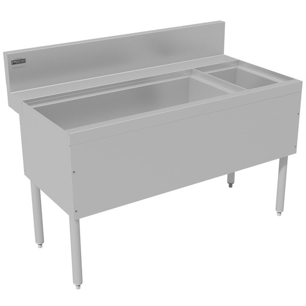 """Advance Tabco PRC-24-48L-10 Prestige Series Stainless Steel Ice Bin and Bottle Storage Combo Unit with 10-Circuit Cold Plate - 25"""" x 48"""" (Left Side Ice Bin) Main Image 1"""