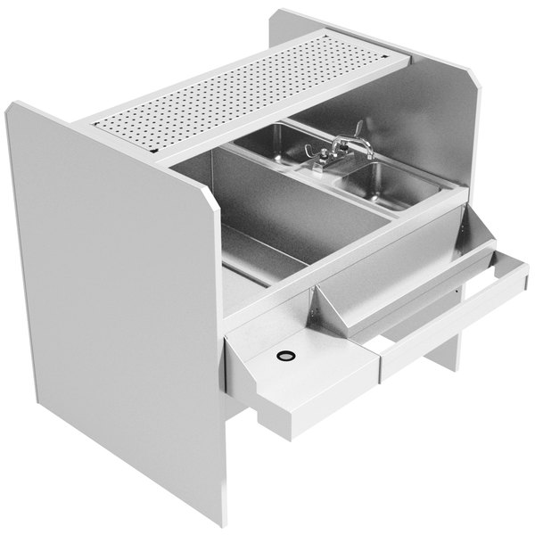 Advance Tabco PR-44X42SP-10-L Prestige Series Stainless Steel Pass-Through Workstation with Perforated Drainboard Shelf - (Left Side Ice Bin) Main Image 1