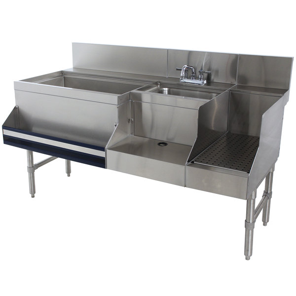 "Advance Tabco PRU-24-60L-10 Prestige Series Stainless Steel Uni-Serv Speed Bar with 10-Circuit Cold Plate - 60"" x 30"" (Left Side Ice Bin) Main Image 1"