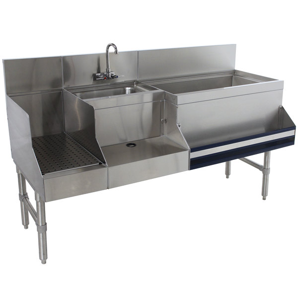 """Advance Tabco PRU-19-60R-10 Prestige Series Stainless Steel Uni-Serv Speed Bar with 10-Circuit Cold Plate - 60"""" x 25"""" (Right Side Ice Bin)"""