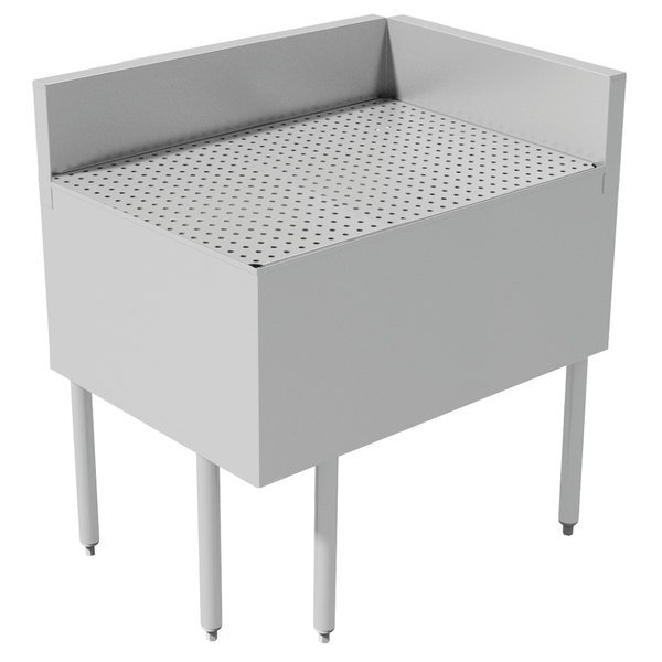 """Advance Tabco PRFD-3035 30"""" x 35"""" Prestige Series Stainless Steel Underbar Drainboard Filler - 90 Degree Angle"""