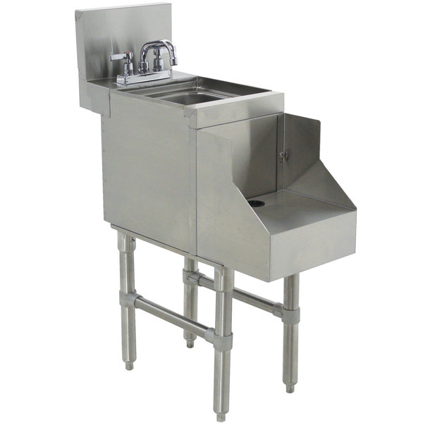 """Advance Tabco PRRS-24-12 Prestige Series Stainless Steel Underbar Blender Station with Sink - 12"""" x 30"""""""