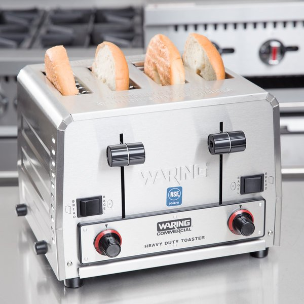 Waring WCT855 Heavy Duty Switchable Bread and Bagel 4-Slice Commercial Toaster - 240V Main Image 4