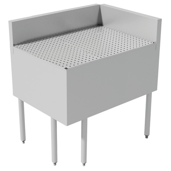 """Advance Tabco PRFD-2535 25"""" x 35"""" Prestige Series Stainless Steel Underbar Drainboard Filler - 90 Degree Angle"""