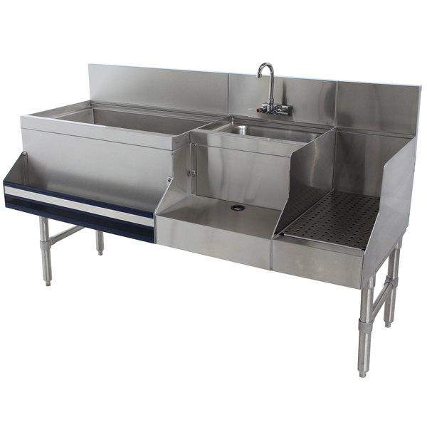 "Advance Tabco PRU-19-60L Prestige Series Stainless Steel Uni-Serv Speed Bar - 60"" x 25"" (Left Side Ice Bin) Main Image 1"