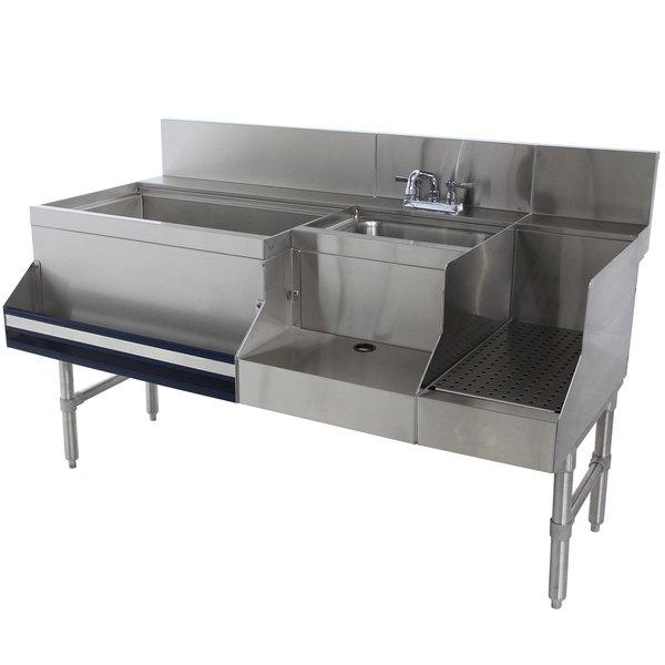 "Advance Tabco PRU-24-60L Prestige Series Stainless Steel Uni-Serv Speed Bar - 60"" x 30"" (Left Side Ice Bin) Main Image 1"