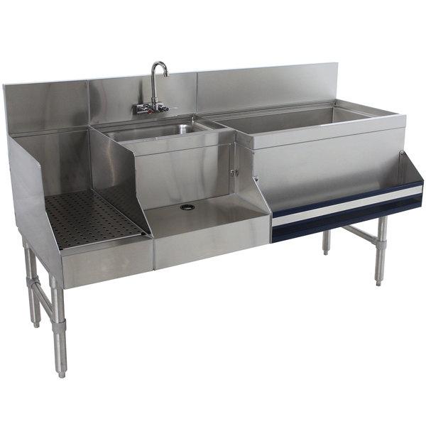 "Advance Tabco PRU-19-60R Prestige Series Stainless Steel Uni-Serv Speed Bar - 60"" x 25"" (Right Side Ice Bin)"