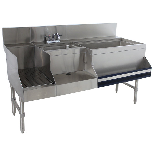 "Advance Tabco PRU-24-60R Prestige Series Stainless Steel Uni-Serv Speed Bar - 60"" x 30"" (Right Side Ice Bin)"