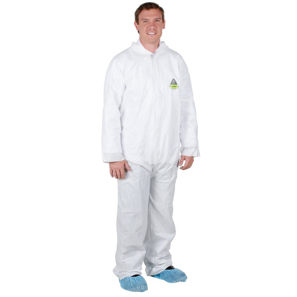 White Disposable Microporous Coveralls - Medium